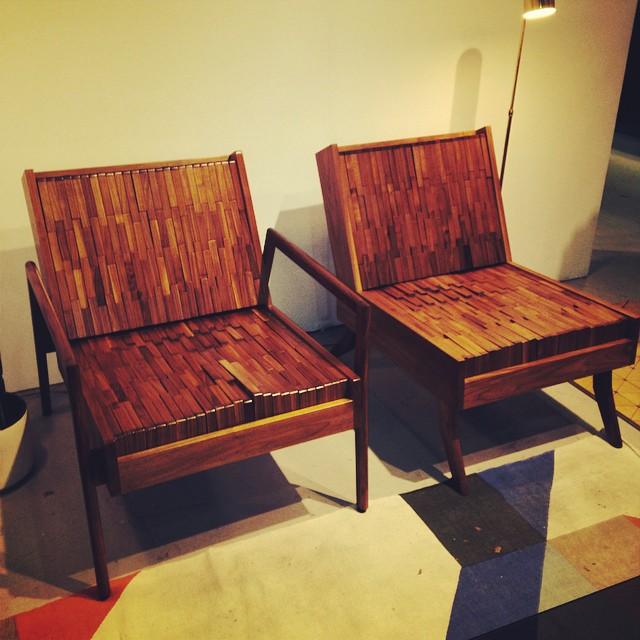 Unbelievably comfortable wood block chairs @ #sitskie #westedgedesign #dimodapr #petergurskidesigninc